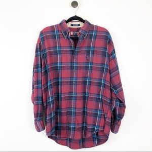Chaps Oversized Plaid Flannel Button Down Red L